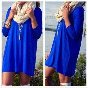 Blue mini tunic long sleeve jersey knit dress